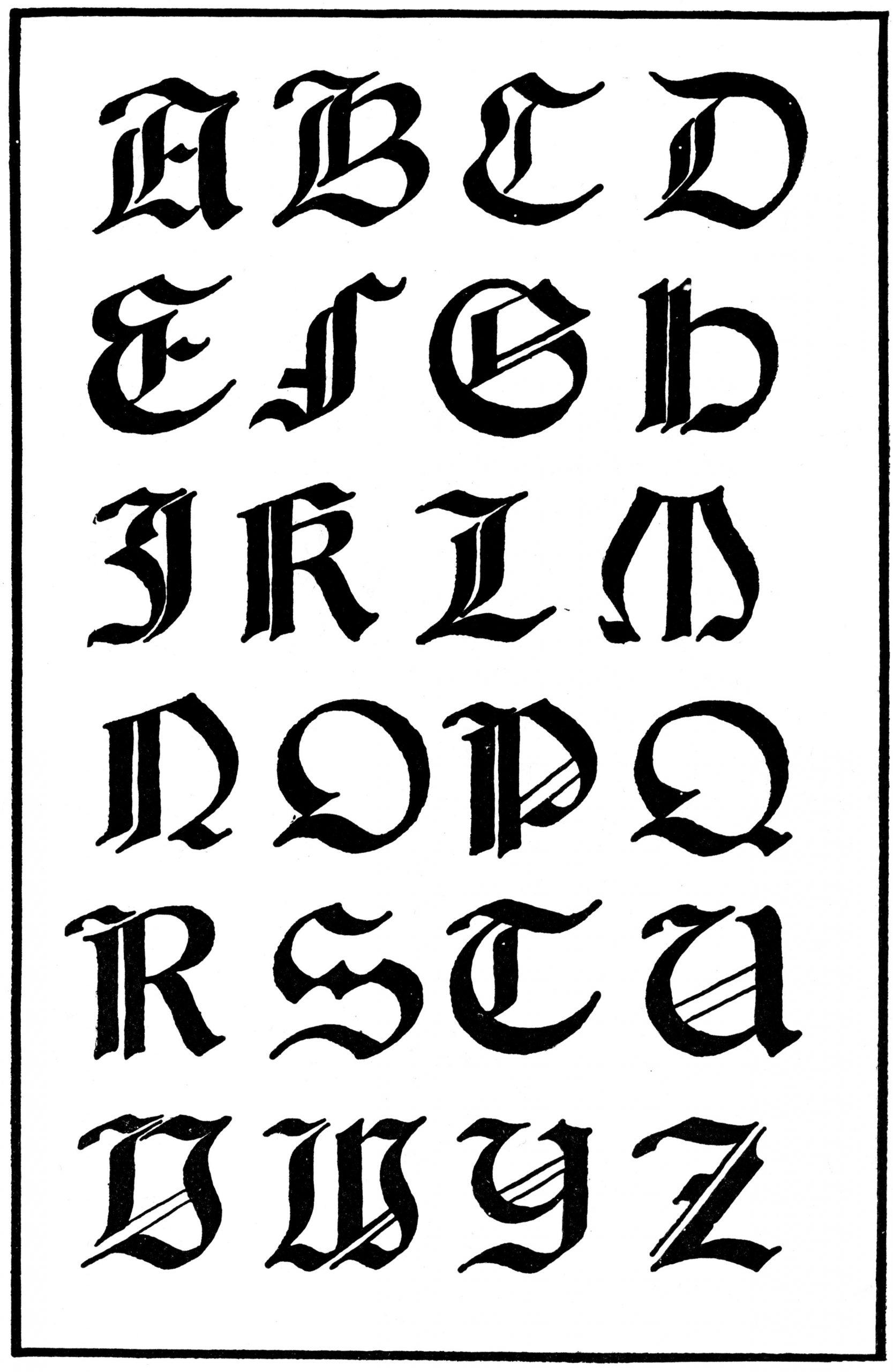 Letras góticas | Caligrafía gótica, abecedario en (mayúsculas y ...